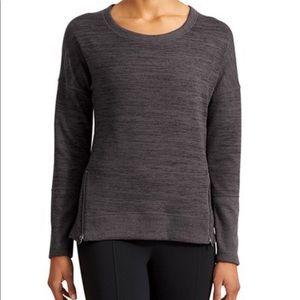 Athleta Blissful Sharkbite Side Zip Sweatshirt Top